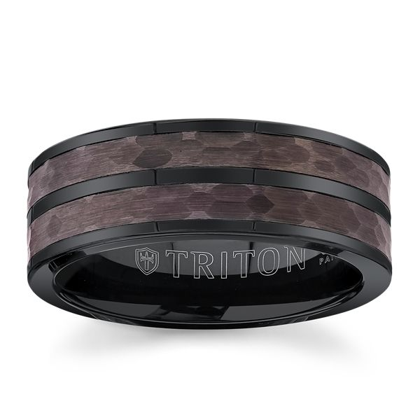 Triton Black Tungsten Carbide and Espresso Tungsten Carbide 8 mm Wedding Band
