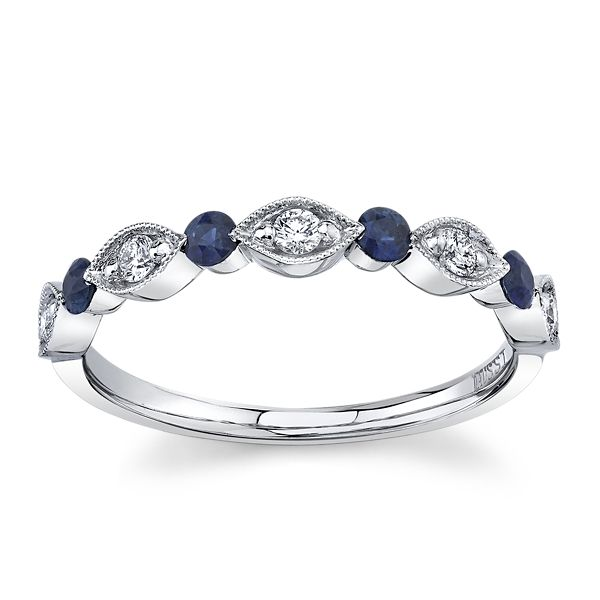 Henri Daussi 18k White Gold Blue Sapphire Diamond Wedding Band 1/6 ct. tw.