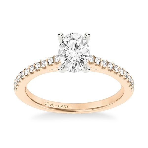 Love Earth 14k Rose and 14k White Gold Diamond Engagement Ring Setting 1/5 ct. tw.