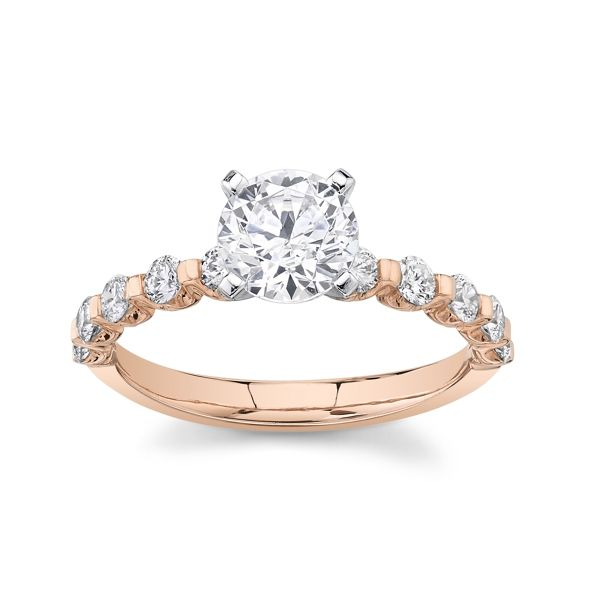 Suns and Roses 14k Rose and 14k White Gold Diamond Engagement Ring Setting 3/8 ct. tw.