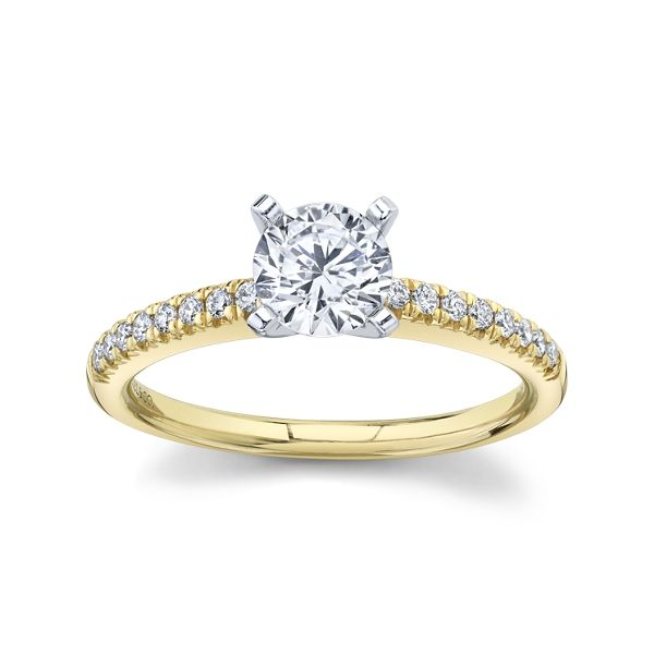 Gabriel & Co. 14k Yellow Gold and 14k White Diamond Engagement Ring Setting 1/6 ct. tw.