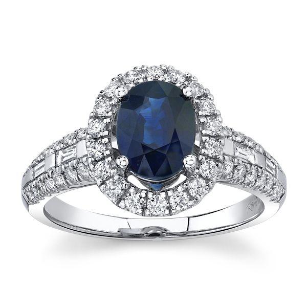 Blossom Bridal 14k White Gold Blue Sapphire Diamond Engagement Ring 1/2 ct. tw.