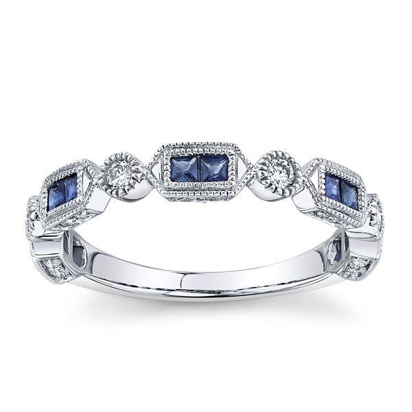 14k White Gold Blue Sapphire Diamond Wedding Band 1/5 ct. tw.