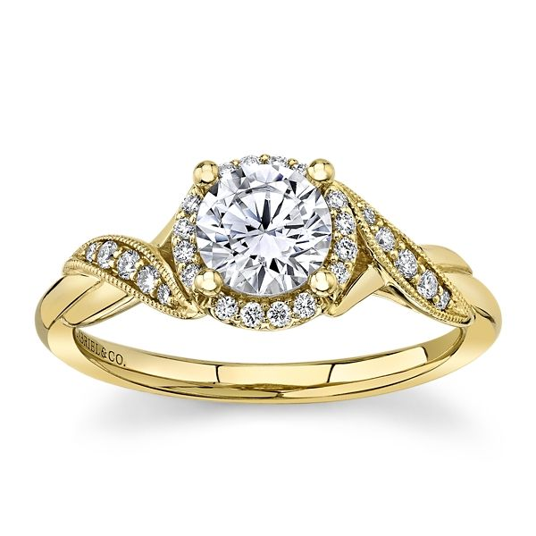Gabriel & Co. 14k Yellow Gold Diamond Engagement Ring Setting 1/8 ct. tw.