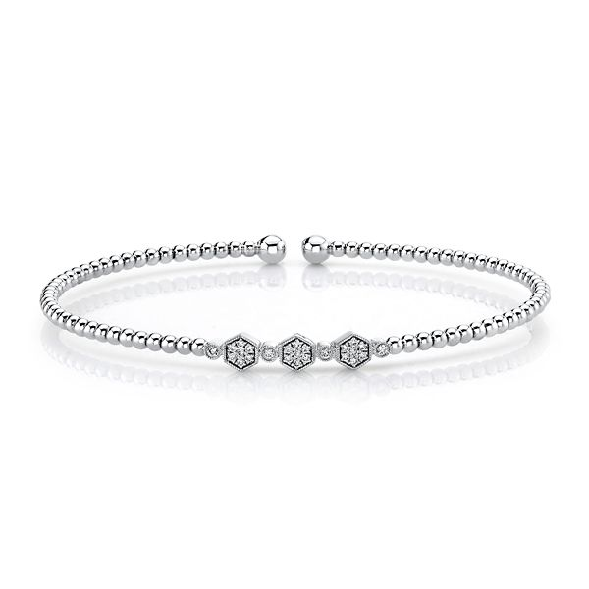 Gabriel & Co. 14k White Gold Bujukan Bead Cuff Bracelet 1/8 ct. tw.