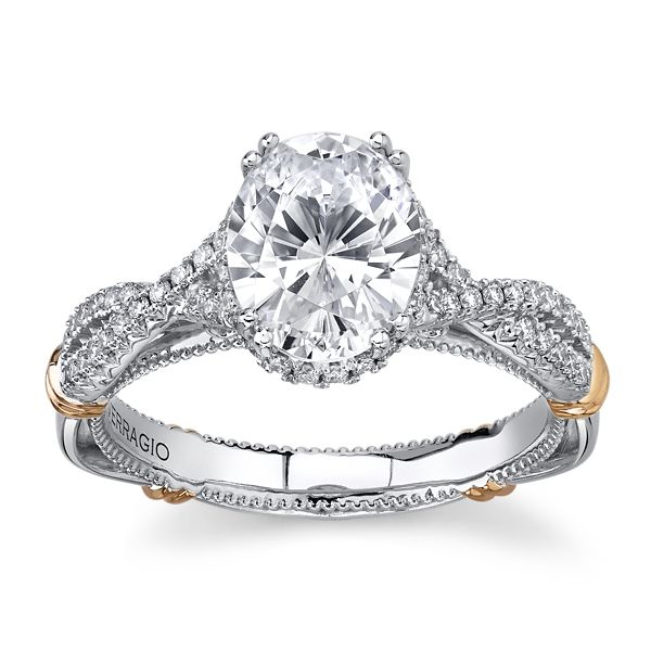 Verragio 14k White Gold & 14k Rose Gold Diamond Engagement Ring Setting 1/4 ct. tw.