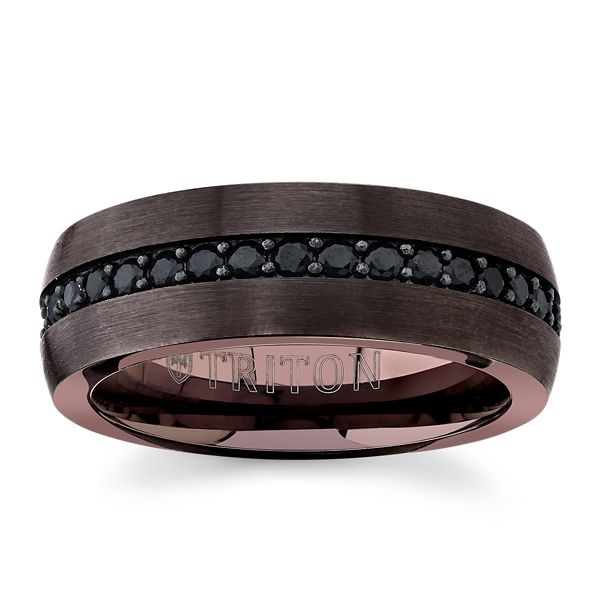 Triton Espresso Tungsten Carbide and Sterling Silver 8 mm Black Sapphires Wedding Band