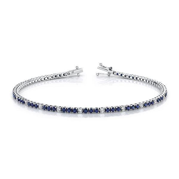 14k White Gold Blue Sapphire Bracelet 1/2 ct. tw.