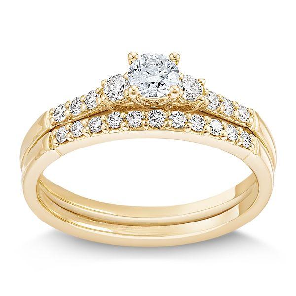 Cherish 14k Yellow Gold Diamond Wedding Set 1/2 ct. tw.