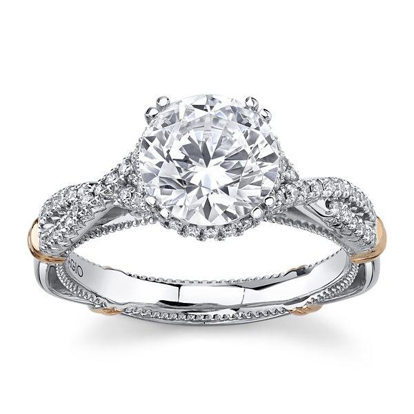 Verragio 14k White Gold & 14k Rose Gold Diamond Engagement Ring Setting 1/4 ct. tw.