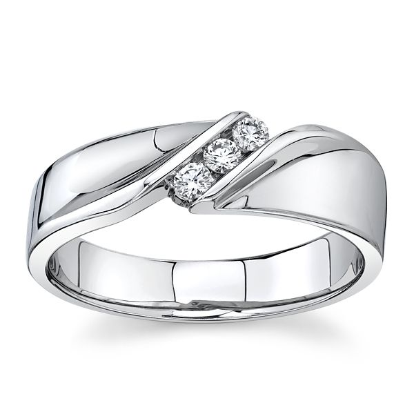 14k White Gold 3.5mm with 3 Round Channel Set Diamond Wedding Band 1/6 ct. tw.
