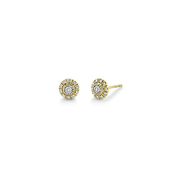 14k Yellow Gold and 14k White Earrings 1/10 ct. tw.