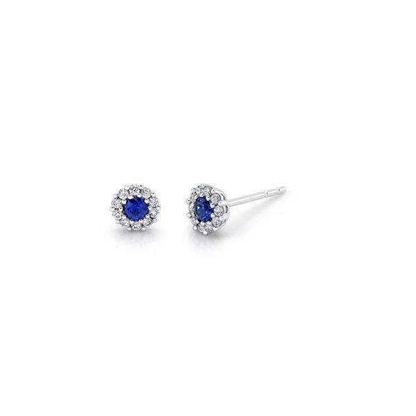 14k White Gold Blue Sapphire Earrings 1/6 ct. tw.