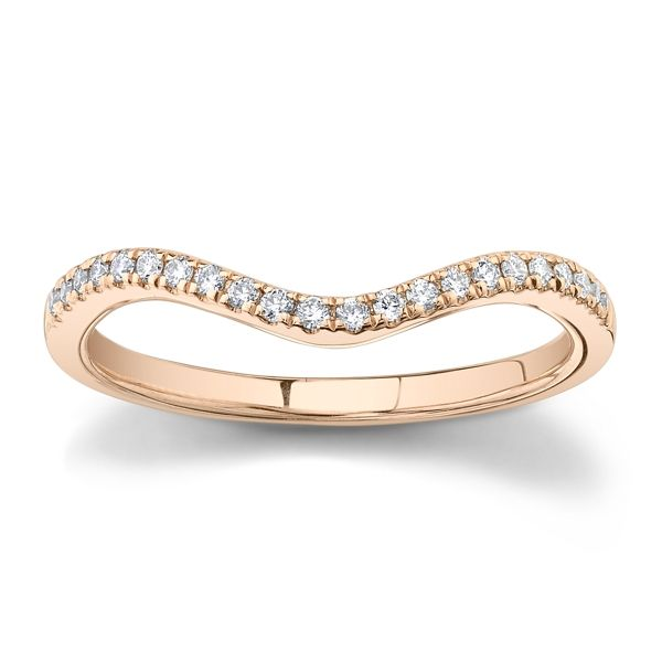 Suns and Roses 14k Rose Gold Diamond Wedding Band 1/10 ct. tw.