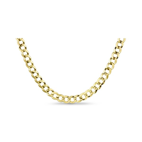 """14k Yellow Gold 22"""" Concave Lite Curb Chain Necklace"""