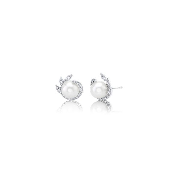 Shy Creation 14k White Gold Diamond and Cultured Pearl Earrings 3/8 ct. tw.