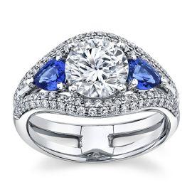 Simon G. 18Kt White Gold Blue Sapphire Diamond Engagement Ring Setting 3/8 cttw
