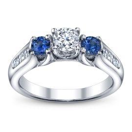 U Two 14k White Gold Ladies Diamond Engagement Ring
