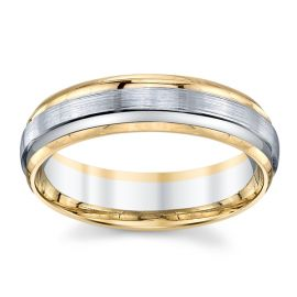Gravure 14k Two Tone 6 mm Wedding Band