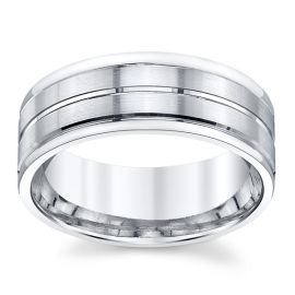 Gravure 14k White Gold 8 mm Wedding Band