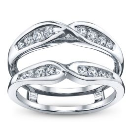 14k White Gold and Diamond Ring Guard