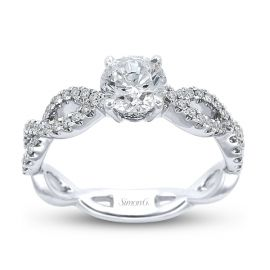 Simon G. Ladies 18k White Gold Diamond Engagement Ring