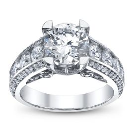 Michael M. Ladies 18k White Gold and Diamond Engagement Ring