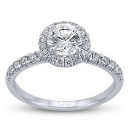 Simon G. Ladies 18K White Gold Halo Diamond Engagement Ring