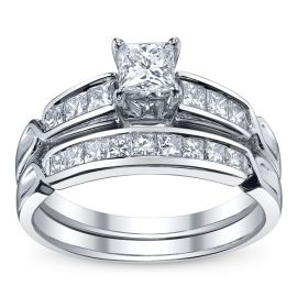U Two 14k White Gold Diamond Wedding Set 1 ct. tw.