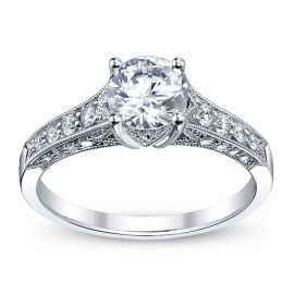 RB Signature 14k White Gold Diamond Engagement Ring Setting 3/8 ct. tw. .