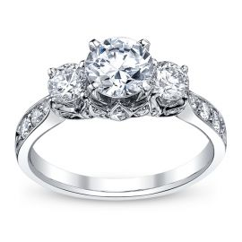 RB Signature 14k White Gold Diamond Engagement Ring Setting 3/4 ct. tw. .