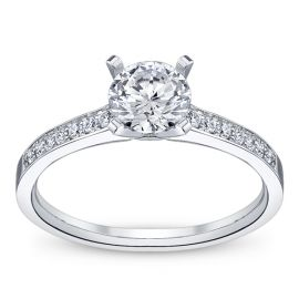 RB Signature 14k White Gold Diamond Engagement Ring Setting 1/10 ct. tw. .