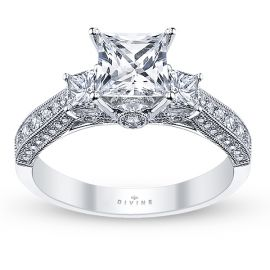 Divine 18k White Gold Diamond Engagement Ring Setting