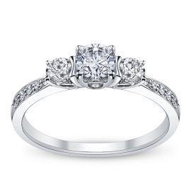 Utwo Three Stone 14k White Gold Diamond Engagement Ring 7/8 ct. tw.