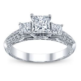 Utwo Three Stone 14k White Gold Diamond Engagement Ring 1 1/2 ct. tw.