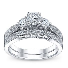 Utwo Three Stone 14k White Gold Diamond Wedding Set 1 ct. tw.