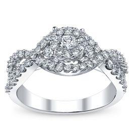 U Two Ladies 14k White Gold Diamond Engagement Ring