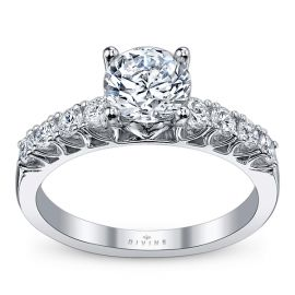 Divine 14k White Gold Diamond Engagement Ring Setting