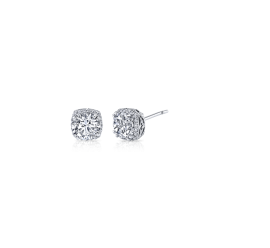 Tacori Jewelry 18Kt White Gold Diamond Halo Semi Stud Earrings 1/6 cttw