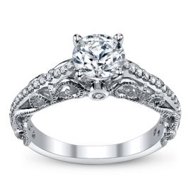 RB Signature 14k White Gold Diamond Engagement Ring Setting