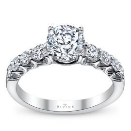 Divine 14k White Gold Diamond Engagement Ring Setting