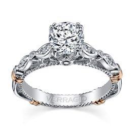 Verragio 14k White and Rose Gold Diamond Engagement Ring Setting