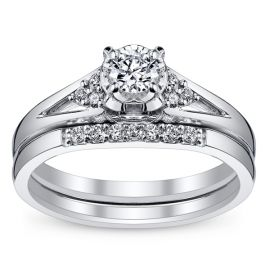 Cherish 10k White Gold Diamond Wedding Set 1/4 ct. tw.