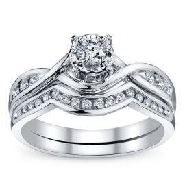 Cherish 10k White Gold Diamond Wedding Set 1/3 ct. tw.