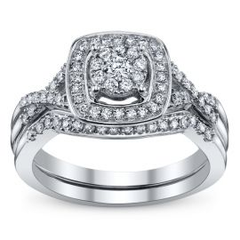Cherish 10k White Gold Diamond Wedding Set 3/8 ct. tw.
