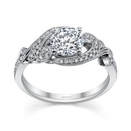Simon G. 18k White Gold Diamond Engagement Ring Setting 1/6 ct. tw.