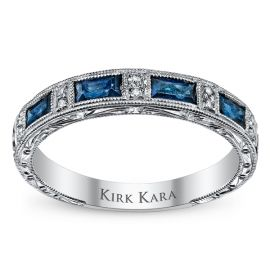 Kirk Kara 18k White Gold Blue Sapphire Diamond Wedding Band .06 ct. tw.