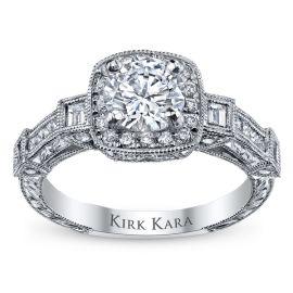 Kirk Kara 18k White Gold Diamond Engagement Ring Setting 5/8 ct. tw.