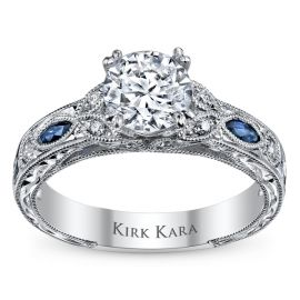 Kirk Kara 18k White Gold Blue Sapphire Diamond Engagement Ring Setting 1/10 ct. tw.