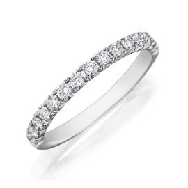 Henri Daussi 18k White Gold Diamond Wedding Band 3/8 ct. tw.